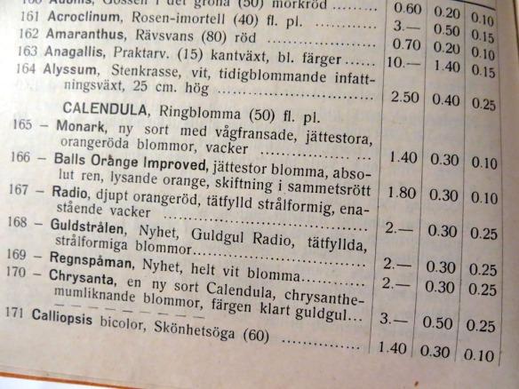 frökatalog B Abrahams frö Asarum 1939 nr3